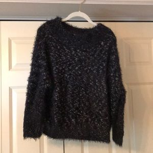 Black and white NEVER WORN fuzzy sweater